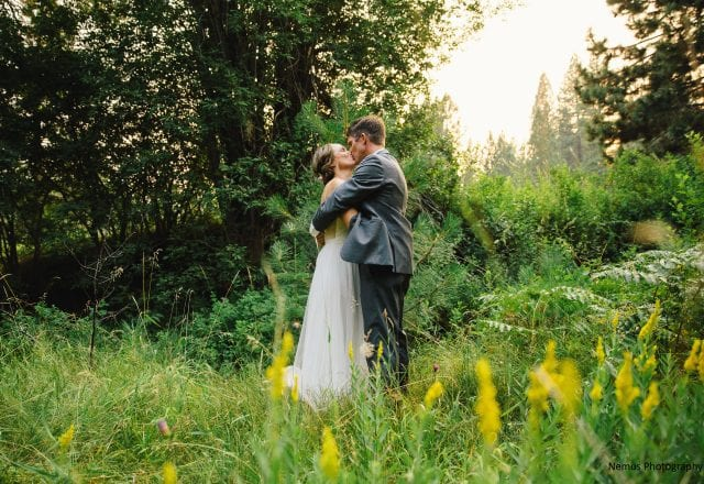 Bride and Groom Kissing Outdoors in North Lake Tahoe