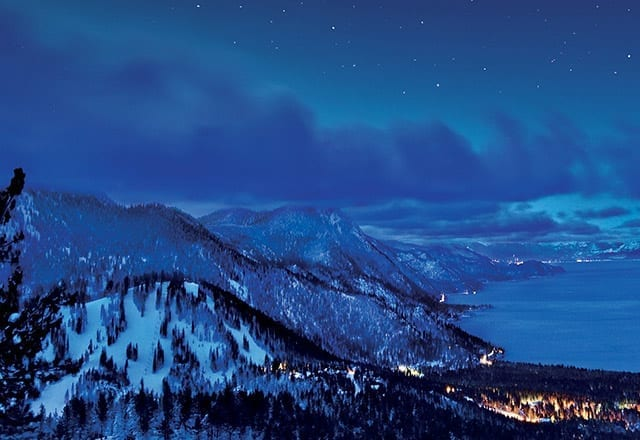 Lake Tahoe lookout winter night stars