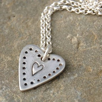Silver Heart Pendant for Arts/Crafts
