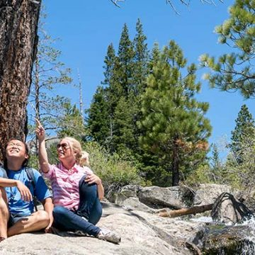 Family hiking Squaw Valley waterfall