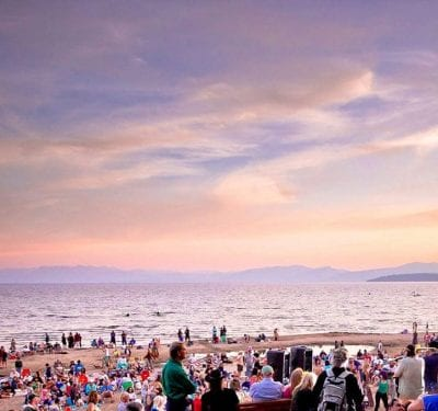 Music on the beach sunset Lake Tahoe