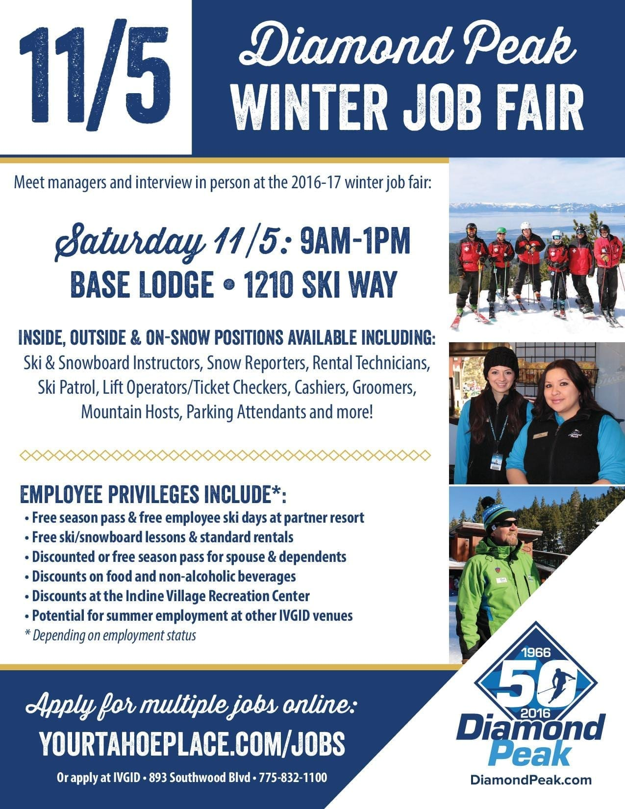 Diamond peak ski resort 2016 job fair go tahoe north meet interview with hiring managers for the 2016 17 winter season on the snow off the snow positions available where workstyle meets lifestyle for falaconquin