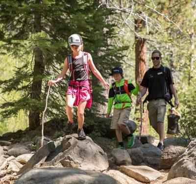 Dad and kids hiking Lake Tahoe