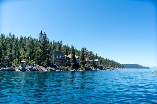 The Thunderbird Lodge sits right along the shoreline of Lake Tahoe