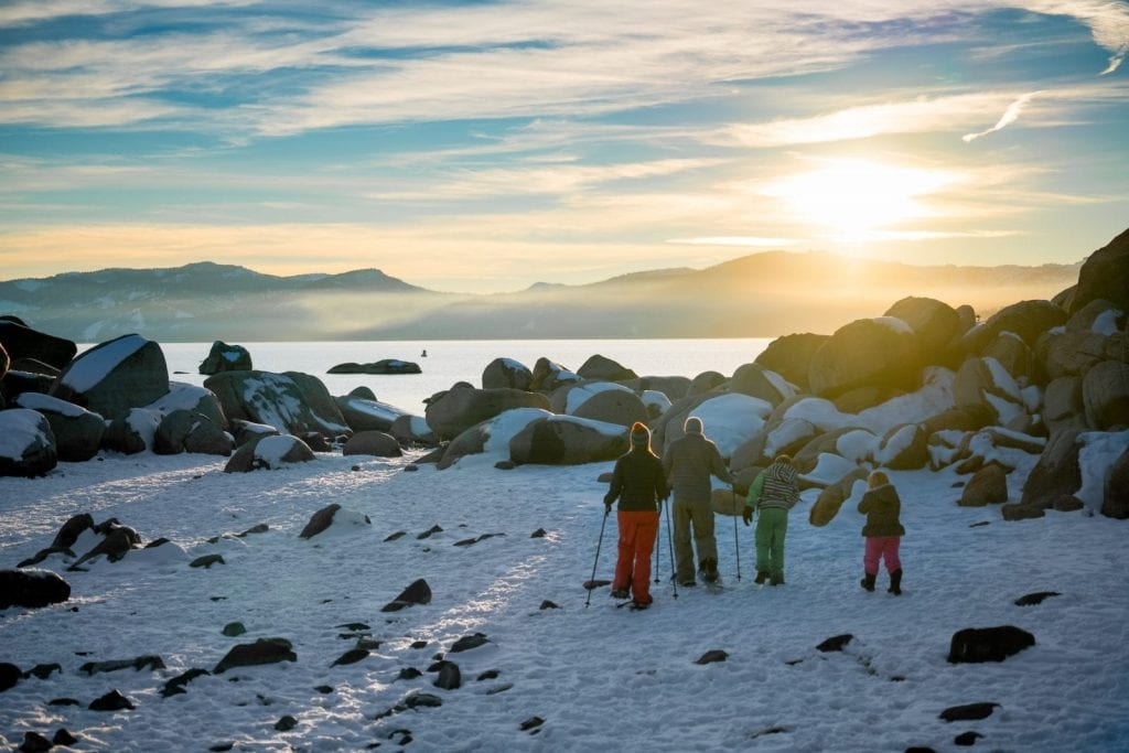 Snowshoeing and hiking are two human-powered sports that keep visitors lightly engaged in North Lake Tahoe.
