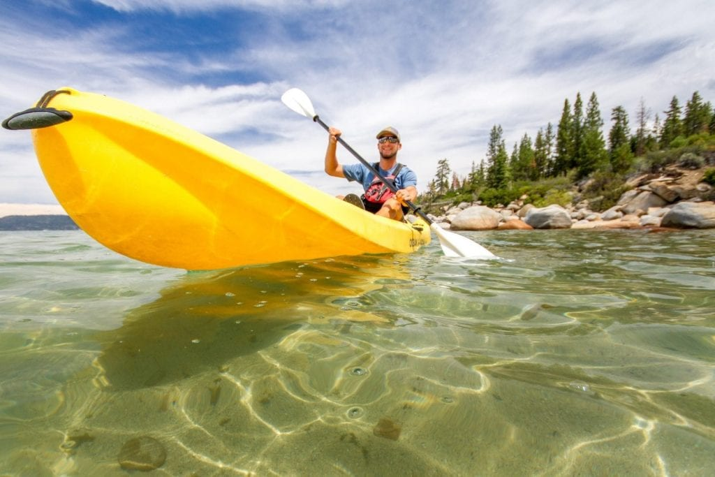 Kayaking is an exciting rush at North Lake Tahoe, home of human-powered sports.