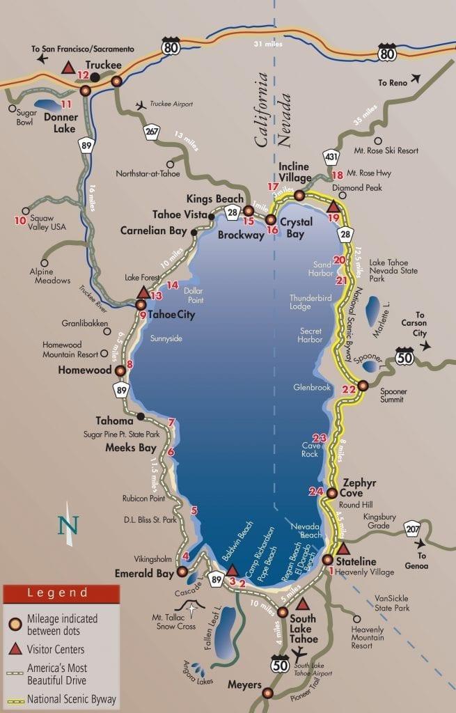 lake tahoe tourist map Lake Tahoe Most Beautiful Drive Go Tahoe North lake tahoe tourist map