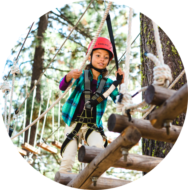 Fly through Trees with rope courses and ziplines