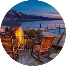 Warm up by a lakeside firepit