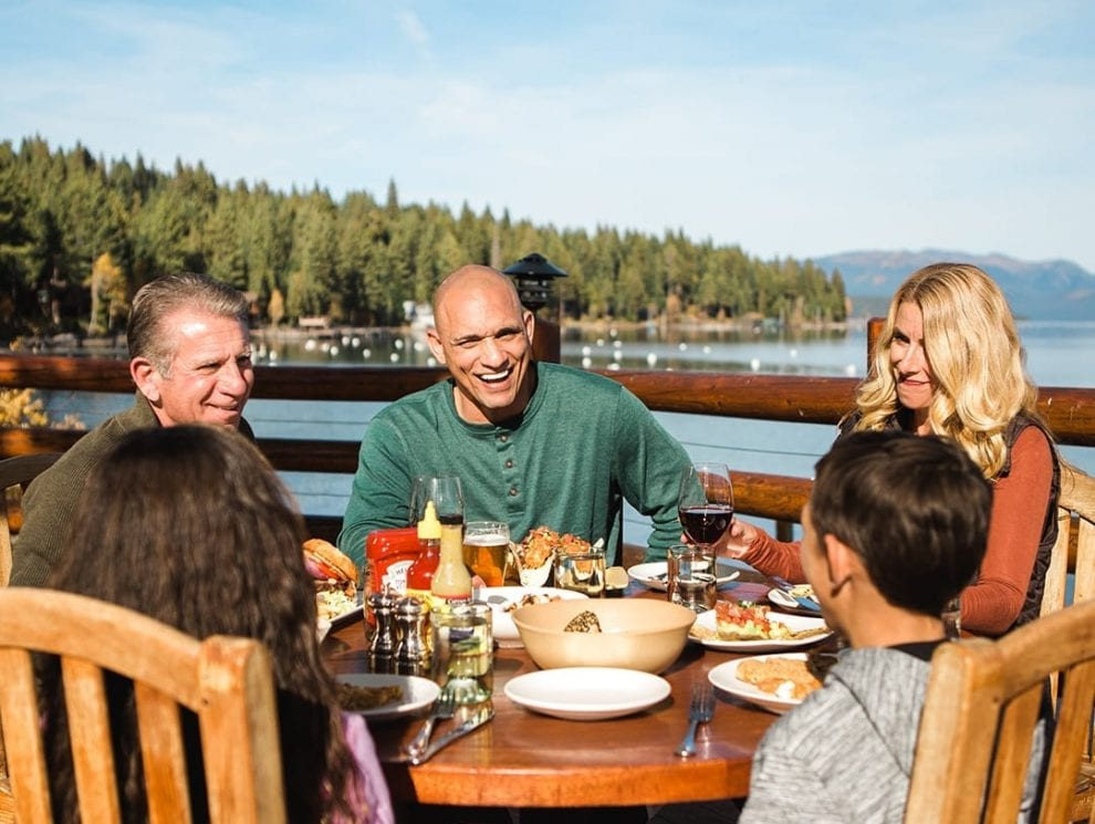 Family dining around Lake Tahoe