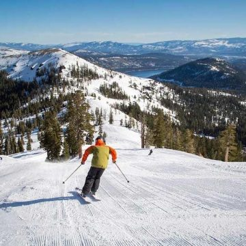Sugar Bowl skiing with a view of Donner Lake