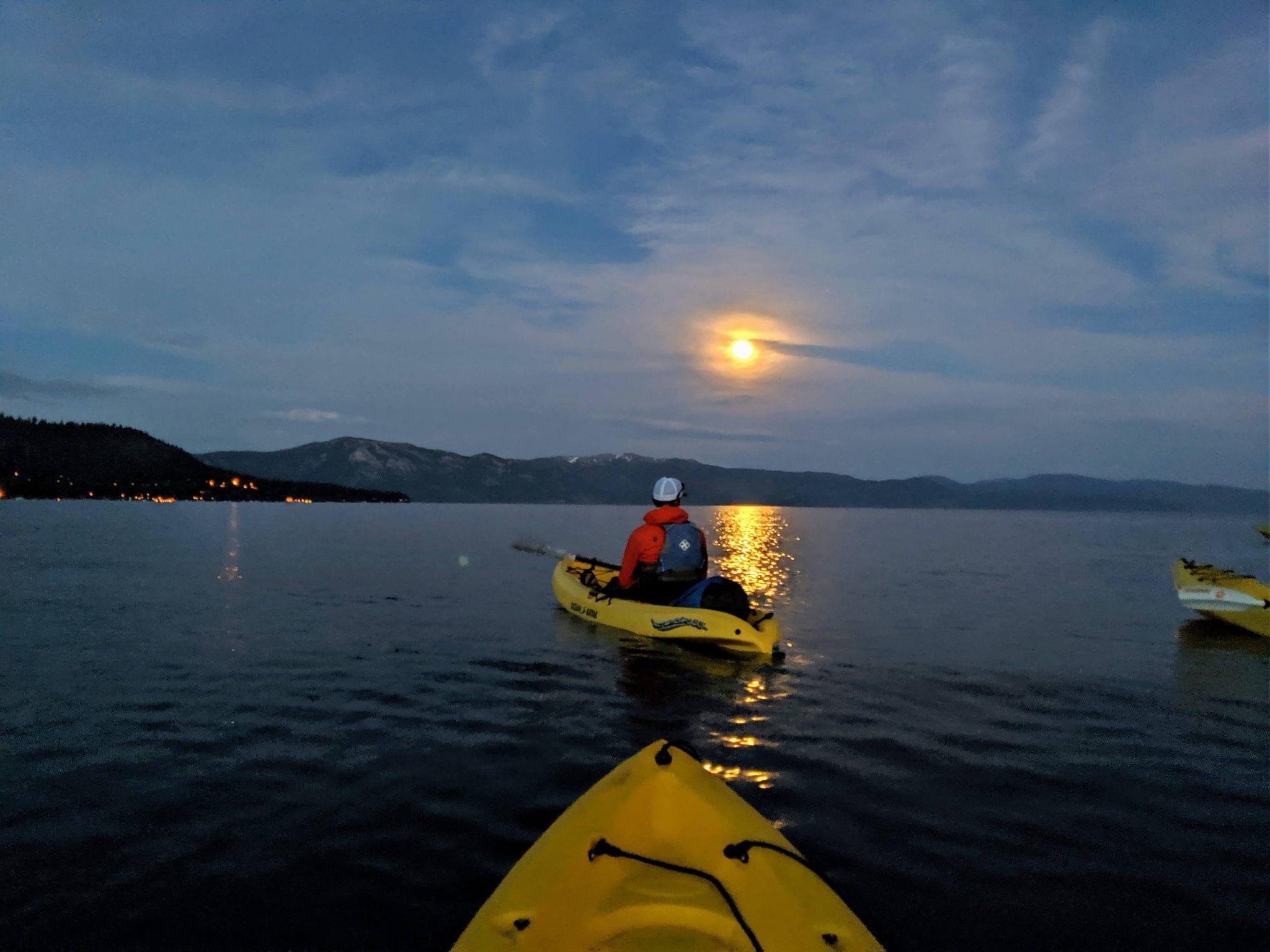 Full Moon Kayaking on Lake Tahoe