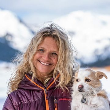 Sherry and her dog in Lake Tahoe
